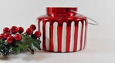 Small Lantern-Tealight Red Stripped Mercury Glass Candle