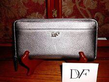 DVF Diane Von Furstenberg ZA Continental Wallet Pewter Leather NWT MSRP 165.00