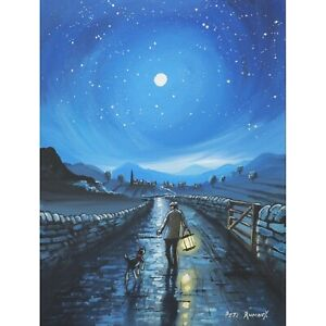 Pete Rumney Original Canvas Art Wanderers In The Night Blue Moon Out Walking Dog