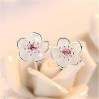 925 Silver Crystal Cherry Blossoms Flower Ear Stud Earrings For Women Girl Gift