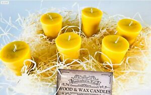 100 % NATURAL BEES WAX VOTIVE CANDLES X 6 IN PRESENTATION BOX GIFTS HIM /HER UK