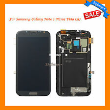 Gray For Samsung Galaxy Note 2 N7105 T889 i317 LCD Screen Digitizer Parts +Frame
