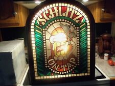 Vintage 1977 Schlitz Beer Lighted Sign Faux Stained Glass Look Advertising Sign
