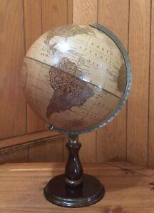"Replogle World Sienna Series 12""  Genuine Leather globe on Walnut Stand"