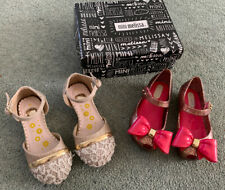 girls mini melissa Glitter Pink shoes Size 22/23 In Box & Gold Shoes Size 5 / 6