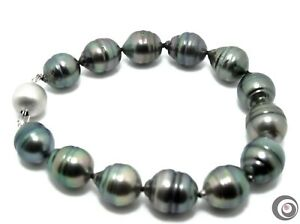 LARGE GENUINE TAHITIAN SOUTH SEA PEARL BRACELET-LARGE SOLID 14K GOLD CLASP #B190