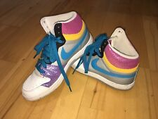 Nike Court Force High Top Trainers ~ Size 7 ~ Multi Coloured with Blue Laces