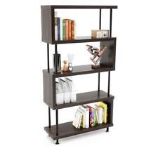 5 Tier S-Shaped Bookshelf Bookcase Shelf Storage Wood Home Furniture Modern