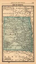 1888 Antique Dakota Map Miniature Vintage Map of North & South Dakota 7940