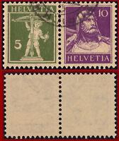 Schweiz Zusammendruck Tellknabe 5 C.olivgrün+Tellbrustbild 10 C, Mi W6x, Z. Z16y