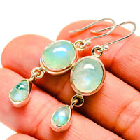 "Green Moonstone 925 Sterling Silver Earrings 1 3/4"" Ana Co Jewelry E412152"