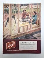 Original 1952 Schlitz Beer Print AD Art Couple Building a House Home Milwaukee