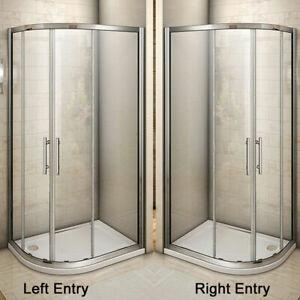 Offset Quadrant Shower Enclosure Corner Cubicle Door and Tray-800/900/1000/1200