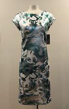 ECI - Green White Foil Floral Print Stretchy Cocktail Dress - Sz: 12