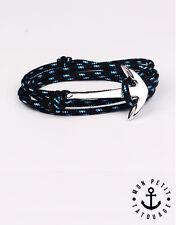 Bracelet mixte homme femme ancre marine Noir Bleu Argent Hope 2016 encre cordon