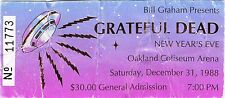 GRATEFUL DEAD TICKET STUB  NEW YEARS 12-31-1988 **MAIL ORDER**