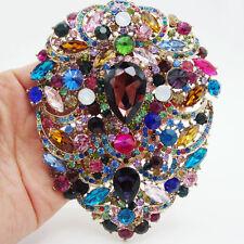 """4.92"""" Huge Flower Drop Pendant Brooch Pin  Multi-color Rhinestone Crystal"""