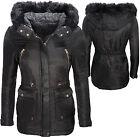 mujer chaqueta de invierno acolchado con capucha cuello Faux Negras Nueva D116