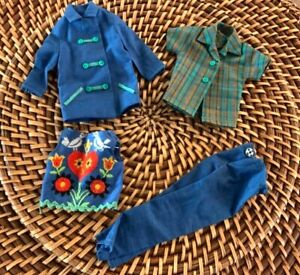 Vtg Barbie Doll Skipper's Blue Jacket Pants, Embroidered Top, Plaid Top Fun Time