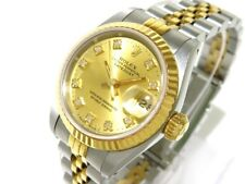 Auth ROLEX Datejust 69173G ChampagneGold Silver 18K Yellow Gold E740832