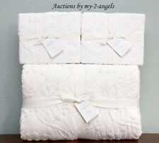 New Pottery Barn Candlewick Cotton F/Q Quilt + Shams Set White texture heirloom