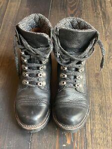Frye Black Leather & Charcoal Tweed Combat Boots 7.5