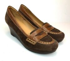 LL Bean Penny Loafer 6.5 M Brown Suede Leather Casual Wedge Slip On Brazil