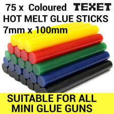 75 x TEXET 7mm Coloured Colour Hot Melt Glue Gun Sticks Adhesive for Hobby Craft