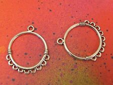 20 Round Loop Charms 1 to 9 Earring Connectors Silver Charm Components Earrings