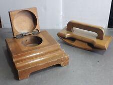 Vintage wooden ink well holder pen and inkblotter