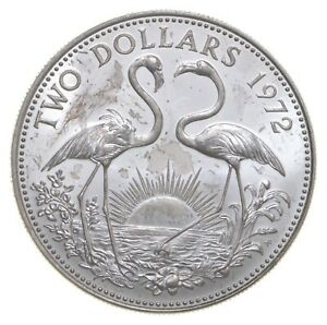 SILVER Roughly Quarter Size 1972 Bahama Islands 2 Dollars World Silver Coin *870
