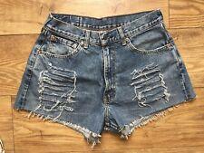 Vintage Womens Levis High Waist Denim Shorts Size 12 W31 Tapered Boyfriend Fit