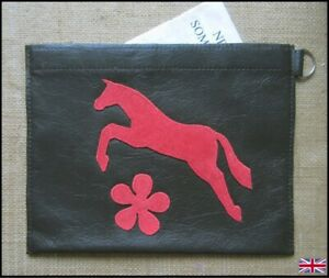 Brown Leather, Red Horse / Pony Passport / Document Holder.