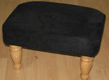 New Superb black faux suede footstool with highest quaity light wood turned legs