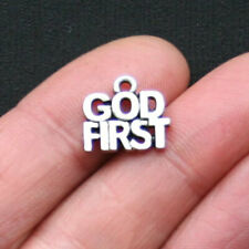10 God First Charms Antique Silver Tone - SC3001