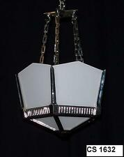 ORIGINAL 1930'S PENTAGONAL LANTERN WITH WHITE OPAL GLASS