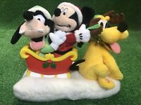 Disney Gemmy Animated Musical Mickey Goofy  Pluto on Sled Here Comes Santa Claus