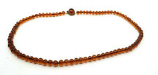 COSTUME JEWELLERY - Vintage Amber Glass Bead Necklace - W Germany - 1960s