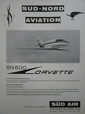 11/69 PUB SUD NORD AVIATION SUD AIR SN 600 CORVETTE FLUGZEUG ORIGINAL GERMAN AD