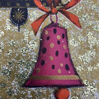 Vintage Mid Century Christmas Greeting Card Pink Bells Gold Glitter Background