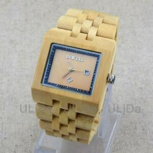 Carbonized Bamboo BEWELL Maple Sandalwood Calendar Fashion Men Wooden Watches