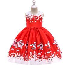 Kids Girls Christmas Xmas Santa Claus Dress Princess Party Tunic Swing Dresses