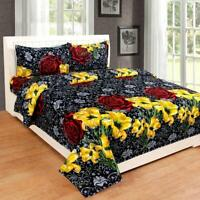 Cotton King Size Double Bedsheet with 2 Pillow Covers (Multicolour)