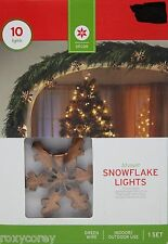 10 Rustic Snowflake String Lights Green Wire Lighted length 9 ft Nib