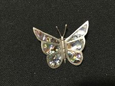 Vintage Nechden Mexico Silver Abalone Butterfly Brooch