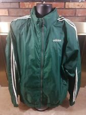 Vintage Adidas Full Zip 3 Stripe Windbreaker Jacket Coat Mens Size XXL Green