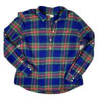 Vineyard Vines Womens Popover Tartan Plaid Flannel Top Size 16 Blue 100% Cotton