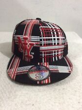City Hunter New York Hat Black Red White Plaid Baseball Fitted Small