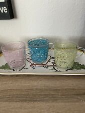 Set of 3 Ikea Floral Glass Coffee Mugs Teacup #18314 Made In France DISCONTINUED