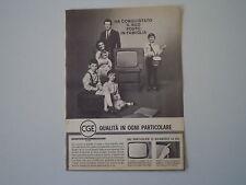 advertising Pubblicità 1963 TELEVISORE CGE